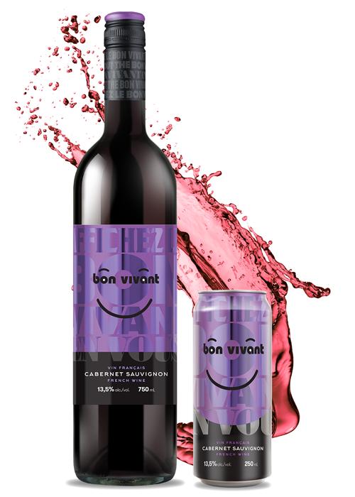 Une bouteille et une canette de vin Bon Vivant Cabernet Sauvignon
