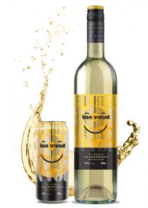 Une canette et une bouteille de Chardonnay Bon Vivant
