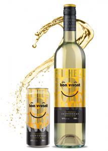 Une canette 250 mL et une bouteille 750 mL de vin Bon Vivant Chardonnay
